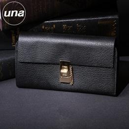 Lammleder geldbörse leder Lady lange lange Geldbeutel lock Verschluss Brieftaschen, Schwarz -