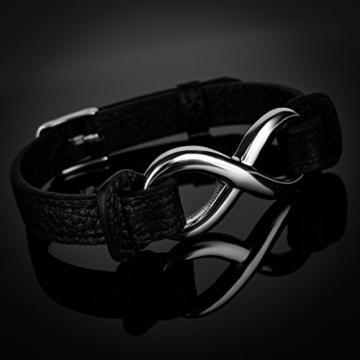 Leder-Armband Damen Endless Unentlichkeit Infinity Rindsleder schwarz Edelstahl Autiga® schwarz -