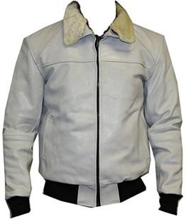 Leder Pilotenjacke Fliegerjacke aus hochwertigem Rindsleder mit Kunstfell Kragen schwarz, dunkelbraun oder klassisch braun Gr. S-3XL (XXL, weiß) -