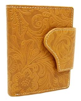 Leder Portemonnaie mit Lilianen Muster Hochformat mit Riegelverschluss -