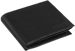 Ledergeldbörse mit viel Stauraum aus echtem Rind-Leder, Modell 7002, Farbe:Schwarz -