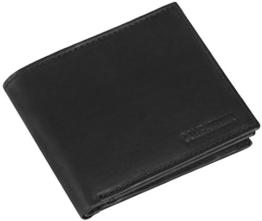 Ledergeldbörse mit viel Stauraum aus echtem Rind-Leder, Modell 7004, Farbe:Schwarz -