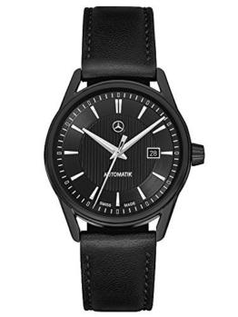 Mercedes-Benz, Armbanduhr Herren,Limitiert MB Automatik Black Edition schwarz / silber, Edelstahl / Lammleder, PVD beschichtet -