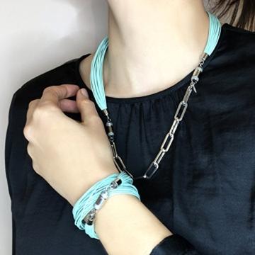 Mint Lammleder Damen/Herren/Unisex Wickelarmband, sicherer Magnetverschluss, kostenlose Geschenkverpackung. CLICCESSORY CORDÓN Twist Mint 38cm. Durch das CLIC System werden die Armbänder zu Halsketten -