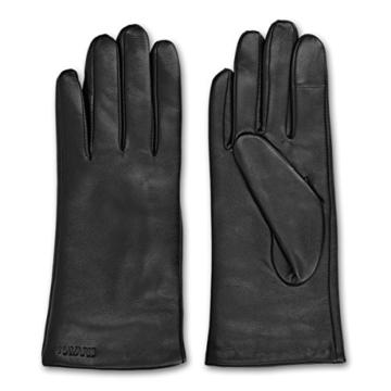 Navaris Touchscreen Handschuhe aus Echtleder für Damen aus Nappa - Lammleder mit Kaschmir Futter -