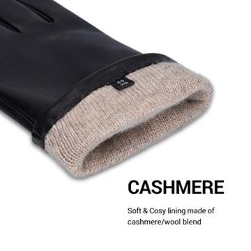 Navaris Touchscreen Handschuhe aus Echtleder für Herren aus Nappa - Lammleder mit Kaschmir Futter -