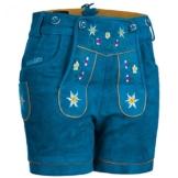 PAULGOS Damen Trachten Lederhose + Träger, Echtes Leder, Kurz in 8 Farben Gr. 34-50 M1, Farbe:Blau, Damen Größe:38 -
