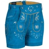 PAULGOS Damen Trachten Lederhose + Träger, Echtes Leder, Kurz in 8 Farben Gr. 34-50 M3, Farbe:Blau, Damen Größe:40 -