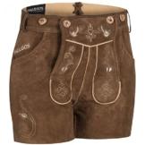 PAULGOS Damen Trachten Lederhose + Träger, Echtes Leder, Sexy Kurz, Hotpants in 5 Farben Gr. 34-50 H1, Damen Größe:36, Farbe:Hellbraun -