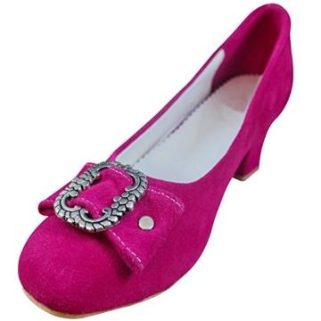 PAULGOS Damen Trachtenschuhe Dirndl Schuhe Trachten Pumps - Echtes Leder - Pink, Schuhgröße:37 -