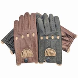 Prime Retro-Autofahrer-Handschuhe Italienisches Nappa-Rindsleder Ungefütterte Chauffeur-Handschuhe für alle Jahreszeiten 516, schwarz, S -