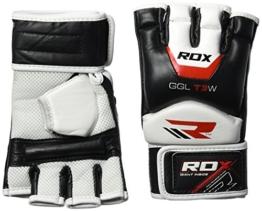 RDX Rindsleder MMA UFC Handschuhe Kamfsport Sandsackhandschuhe Sparring Grappling Trainingshandschuhe , Weiß/Schwarz, M -