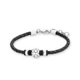 s.Oliver Kinder-Armband Fussball Edelstahl Leder  20 cm - 542364 -