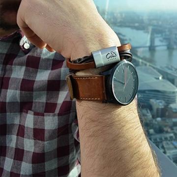 Schmales Designer Herren Echtleder-Armband aus Rinds-Leder mit Magnet-Verschluss in braun und Länge 19 cm Liverpool | Armband Herren | Modeschmuck | Edelstahl | gewickelt -