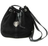 Schwarze Trachtentasche Dirndltasche Wildleder Beuteltasche mit Edelweiß-Herz -