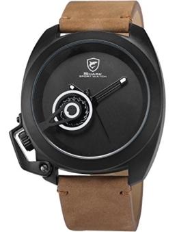 Shark Herren Analog Armbanduhr Braun Pferdeleder SH451 -
