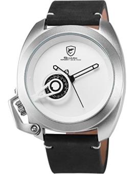 Shark Herren Armbanduhr Analog Quarzuhr Schwarz Pferdeleder Band Datumsanzeige SH450 -