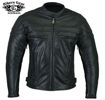 STURGIS (Monza Naked Rindsleder CE und belüftet Motorrad Jacke schwarz schwarz XXXXXL -