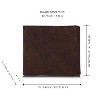 Sunrolan Herren Geldbörse Vintage Querform Portemonnaie Geldbeutel Rinderleder Praktisch Portmonee aus Echtleder Braun 11.5*9,8*1cm -