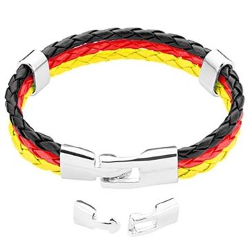 Taffstyle® Stylisches Armband PU Lederarmband Kordelarmband Fanartikel Fussball Weltmeisterschaft WM & EM Europameisterschaft 2016 Länder Style geflochten - Deutschland - 21cm -