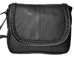 Tasche Handtasche Umschlagtasche schwarz Echt Leder 6627 o -