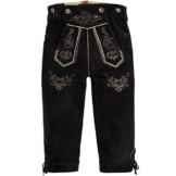Trachten Lederhose Kniebundhose mit Trägern aus Rindveloursleder Dunkelbraun 52 -