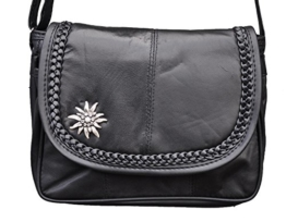 Trachten Tasche Handtasche mit Edelweiss Echt Leder Schwarz 6627 -