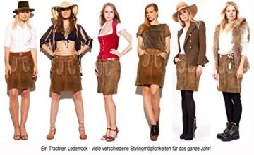 Trachtenamazonen Damen Trachten Lederrock Leni in dunkelbraun mit himbeerfarbiger Bestickung - Größe 36 -