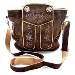 Trachtentasche Dirndltasche Lederhosen-Tasche als Umhängetasche Leder Dunkelbraun -