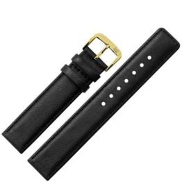 Uhrenarmband 12mm Leder schwarz Naht - Ersatzarmband aus echtem Schweinsleder für Uhren - Lederarmband mit Naht - Lederband für Armbanduhren - Marburger Uhrenarmbänder seit 1945 - schwarz / gold -