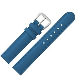 Uhrenarmband 14mm Leder blau glatt - mit Naht, Bombage - Ersatzarmband für Kinderuhren aus Rindsleder - Kinder Uhrenband mit zwei farblich abgestimmten Bandschlaufen - blau / silber -