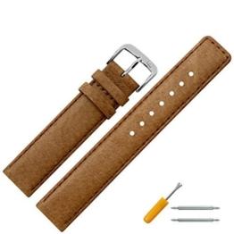Uhrenarmband 14mm Leder braun Naht - Ersatzarmband aus echtem Schweinsleder für Uhren - Lederarmband mit Naht - Lederband für Armbanduhren - Marburger Uhrenarmbänder seit 1945 - hellbraun / silber -