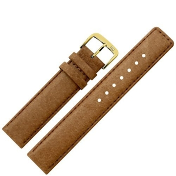 Uhrenarmband 16mm Leder braun Naht - Ersatzarmband aus echtem Schweinsleder für Uhren - Lederarmband mit Naht - Lederband für Armbanduhren - Marburger Uhrenarmbänder seit 1945 - hellbraun / gold -