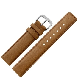 Uhrenarmband 20 mm Leder braun Naht - Ersatzarmband aus echtem Schweinsleder für Uhren - Lederarmband mit Naht - Lederband für Armbanduhren - Marburger Uhrenarmbänder seit 1945 - hellbraun / silber -