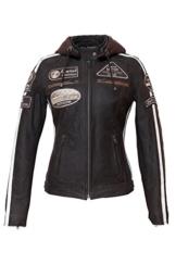 Urban Leather Damen Motorradjacke mit Protektoren, Braun, M -