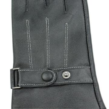 Yingniao Herren Handschuhe Fäustlinge Leder Lammfell Lammleder Lederhandschuhe Touchscreen Berührungsbildschirm Warm Winter Schwarz -