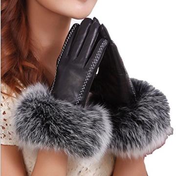 Yingniao Mädchen Damen Handschuhe Fäustlinge Leder Lammfell Lammleder Lederhandschuhe Warm Winter Fuchs Pelz schwarz L -