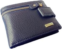 ZCK001 Ger. SHIDAI Geldbeutel ECHT WILD RIND LEDER Geldbörse Portemonnaie Brieftasche Gerade Zipper (Schwarz mit edlen blauen Nähten) Damen Herren Unisex inkl. Geschenk Box -