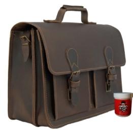 Aktentasche FREIHERR VON MALTZAHN aus braunem BIO Leder mit Schulterpolster und Lederpflege, Made in Germany -