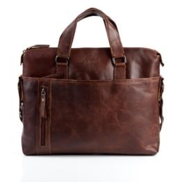"""BACCINI Aktentasche LEANDRO - Laptoptasche groß fit für 15,4"""" mit herausnehmbarer Schutzhülle- Businesstasche mit Schultergurt echt Leder braun-cognac -"""