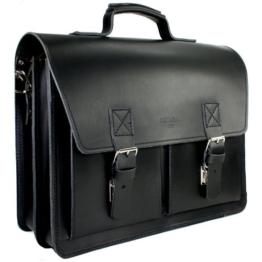 DELARA Aktentasche aus Leder im Bauhaus-Stil mit Schulterriemen und Schulterpolster, Farbe: schwarz - Made in Germany -