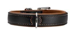 Hunter Hundehalsband Canadian Elk, Gr. 60, Elchleder, schwarz/cognac -