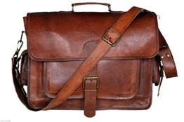 Krish Vintage Leder Laptop Tasche Messenger Handgefertigt Aktentasche Umhängetasche Schultertasche -