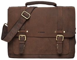 LEABAGS Omaha Aktentasche aus echtem Büffel-Leder im Vintage Look - Muskat -