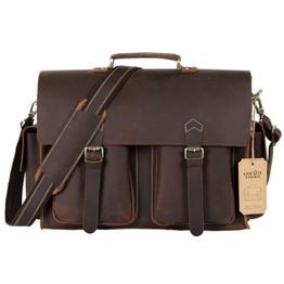 Lifewit Leder Aktentasche 15,6 Zoll Messenger Bag Laptoptasche Notebooktasche Umhängetasche aus Echtem Büffelleder Handgemacht Tasche für Business -