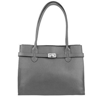 Made in Italy Damen Leder Shopper Umhängetasche Tasche Schultertasche Tablet/Ipad bis ca. 10-12 Zoll (Grau 34x28x13 cm) -