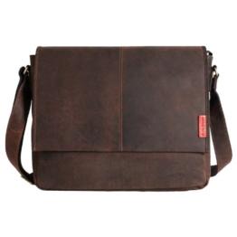 Messenger-Bag / Büchertasche aus geöltem Buffalo Leder 38x29x11 cm von Outback Model: Kalgoorlie, Farbe / Colour:Dark Muskat -