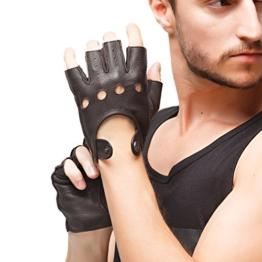 Nappaglo Herren Hirschleder Fingerlose Handschuhe Halbfinger Lederhandschuhe für fahren Motorrad Radfahren Ungefüttert Handschuhe (XL (Umfang der Handfläche:23.0cm), Braun) -