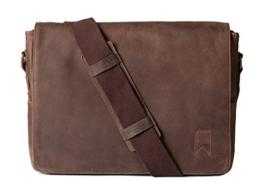 Navali Mainstay Laptop Umhängetasche Vintage Messenger Bag aus echtem Wild-West-Leder – Braun -