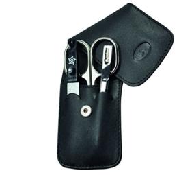 Pfeilring Erwachsene Taschenetui, 3-Tlg, Nickel-Füllung, Kalbleder, Schwarz Maniküre, Mehrfarbig, One Size -